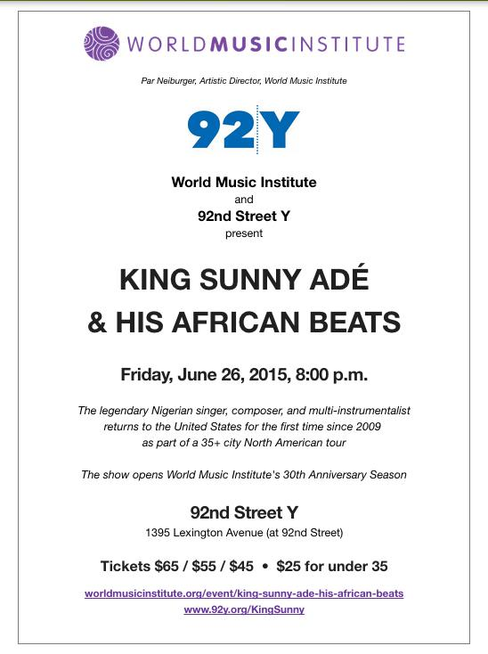 KING SUNNY ADE - Friday June 26th