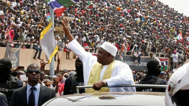 President Barrow Sworn in at Packed Stadium