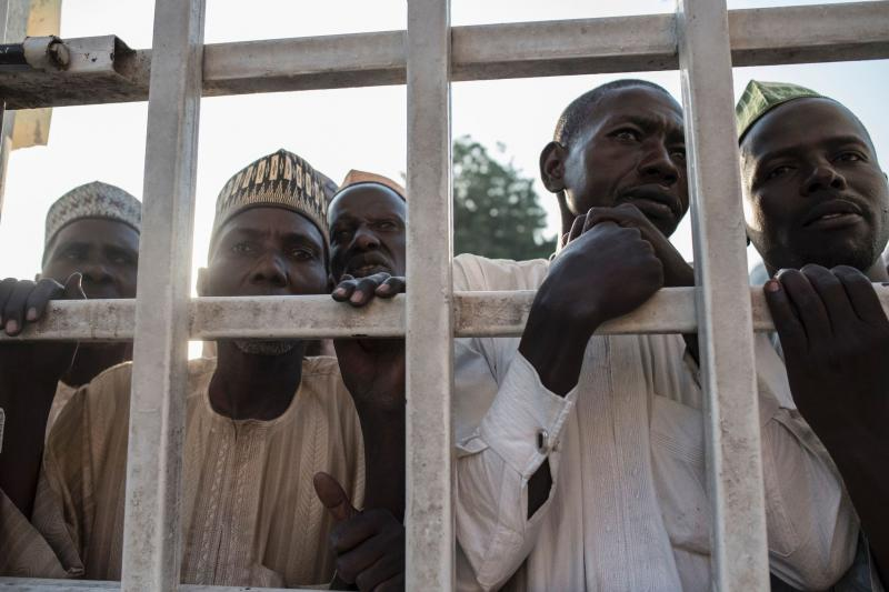 Refugees waiting outside Nigerian hospital