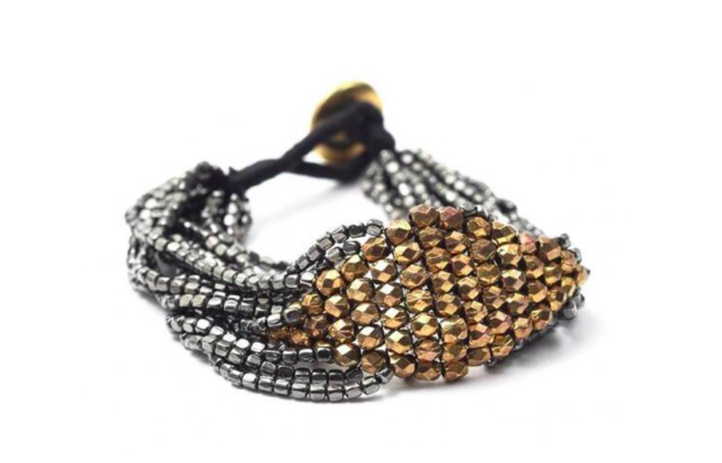 2. Multi Strand Gold and Gunmetal Beaded Bracelet from Sissy's Jewelry at Greathouse