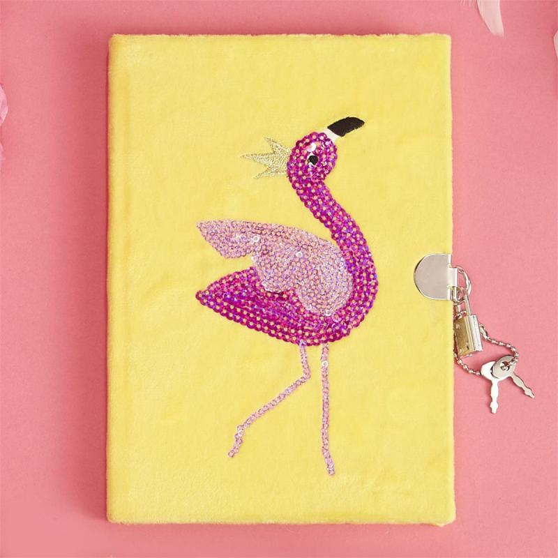 Pink Sequin Flamingo Plush Diary with Lock and Key
