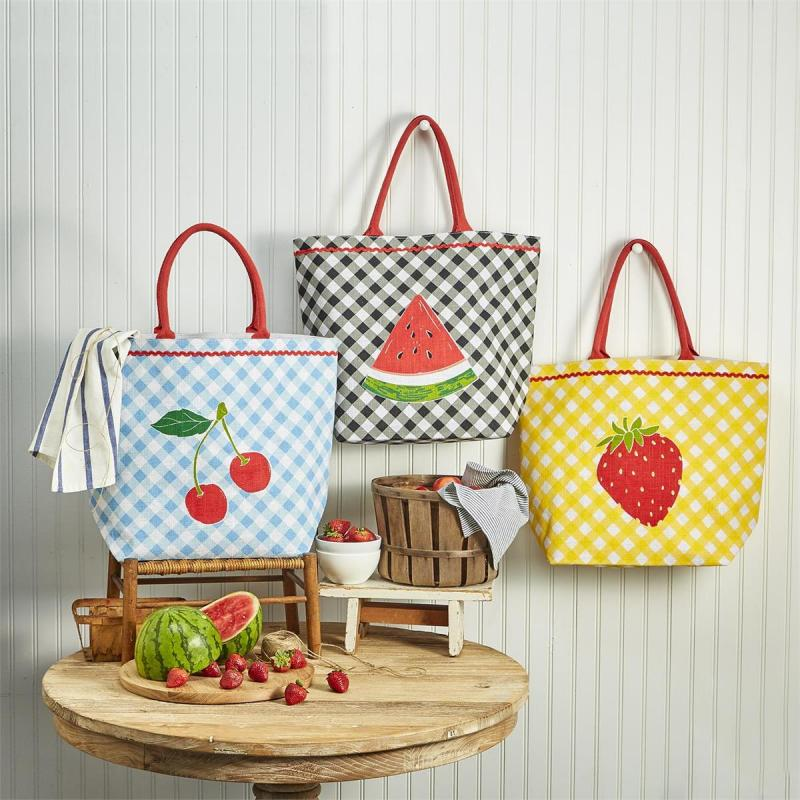 Fresh Picked Fruit Jute Tote Bag