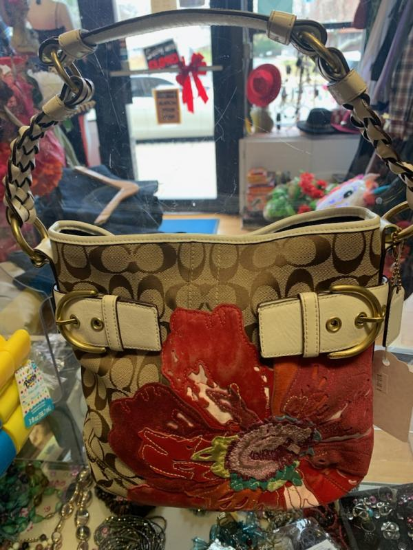 Coach Saddle Bag Tan with Red Flowers