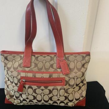 Coach canvas tote signature handbag