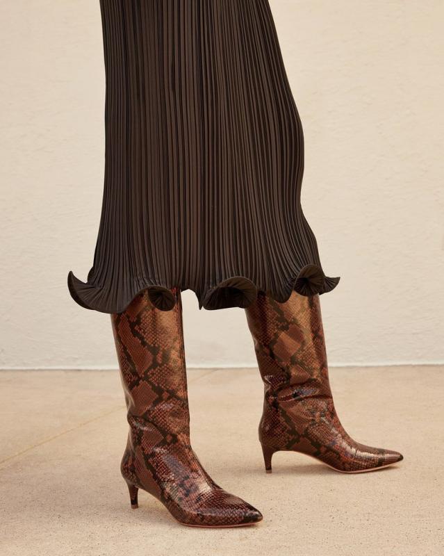 Loeffler Randall Gloria Tall Kitten Heel Boot - Mocha