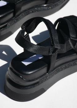 Suzanne Rae Velcro Sandal - Black