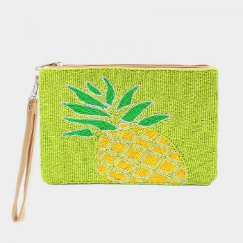 Seed Beaded Pineapple Wristlet Clutch Bag