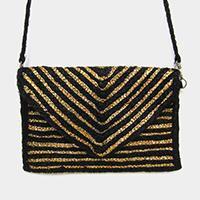 Chevron Pattern Straw Crossbody Bag