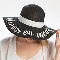 'Always on Vacay' Embroidery Straw Floppy Sun Hat