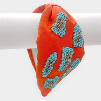Bead Embellished Burnout Knot Headband