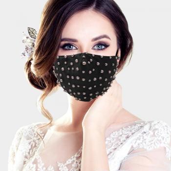 Pearl Embellished Fashion Mask