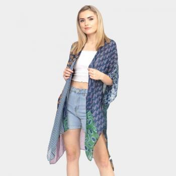 Mixed Pattern Kimono Poncho