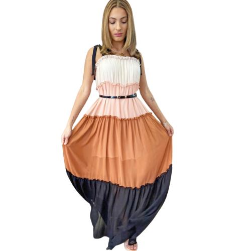 TIERED COLORBLOCK MAXI DRESS