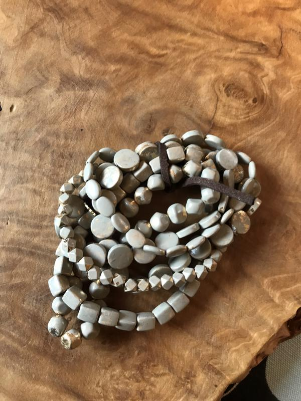 6 Strand Multi Shape Gold/ Gray Beaded Stretch Bracelets