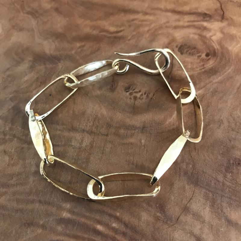 Hammered Brass Oval Link Bracelet with S Hook Closure