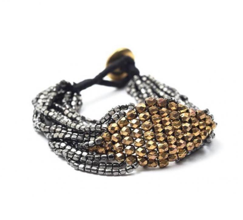 Multi Strand Gold and Gunmetal Beaded Bracelet