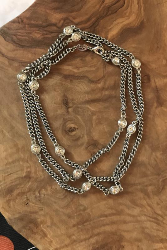 "50"" Sterling Silver Plate Chain with Double Sided Beveled Crystals"