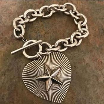 Antiqued Silver Plate Link Bracelet with Heart and Star Charm
