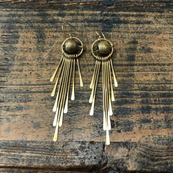 Brass Ball and Fringe Earrings