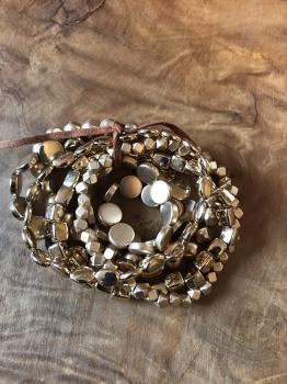 6 Strand Multi Shaped Gold Stretch Bracelets