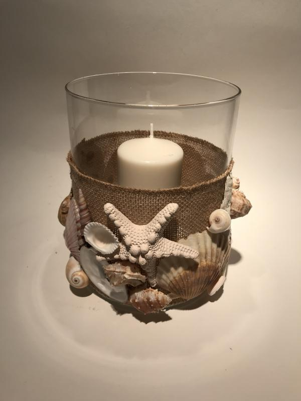 Handcrafted Shell Hurricane with Candle
