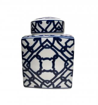 Blue and white geometric design ginger jar