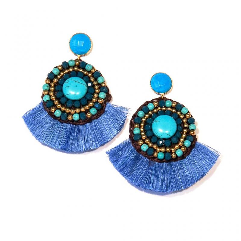 Whitney Beaded Fan Tassel Earrings