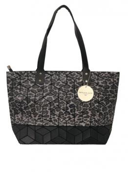 Black and White Leopard Print Tote