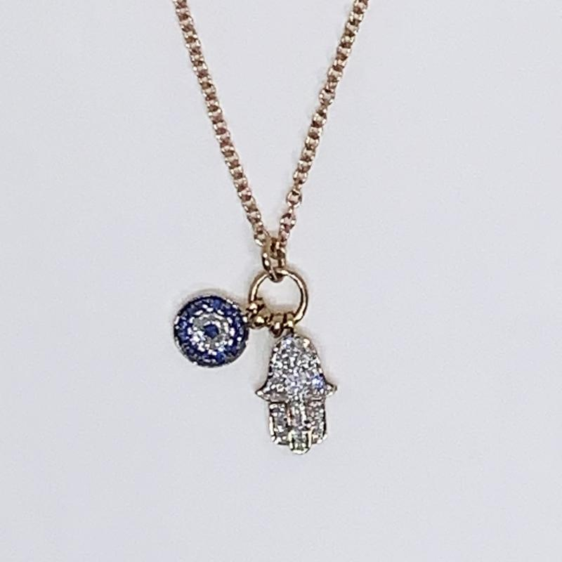 Diamond & Sapphire evil eye pendant on rose gold Chain