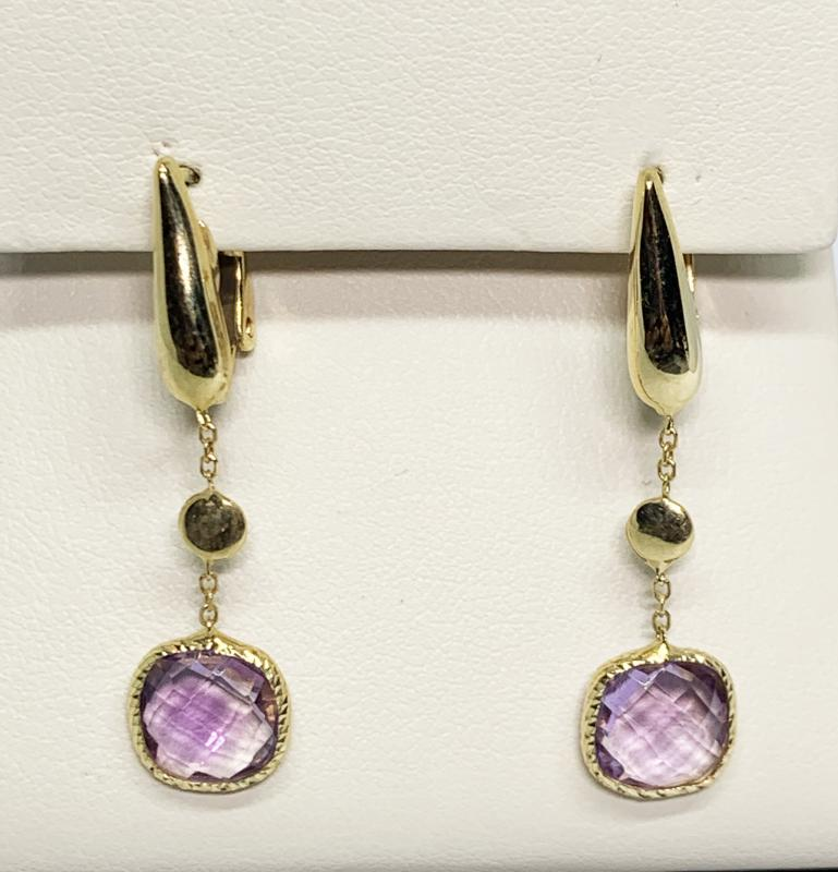 14K Purple Quartz Earrings