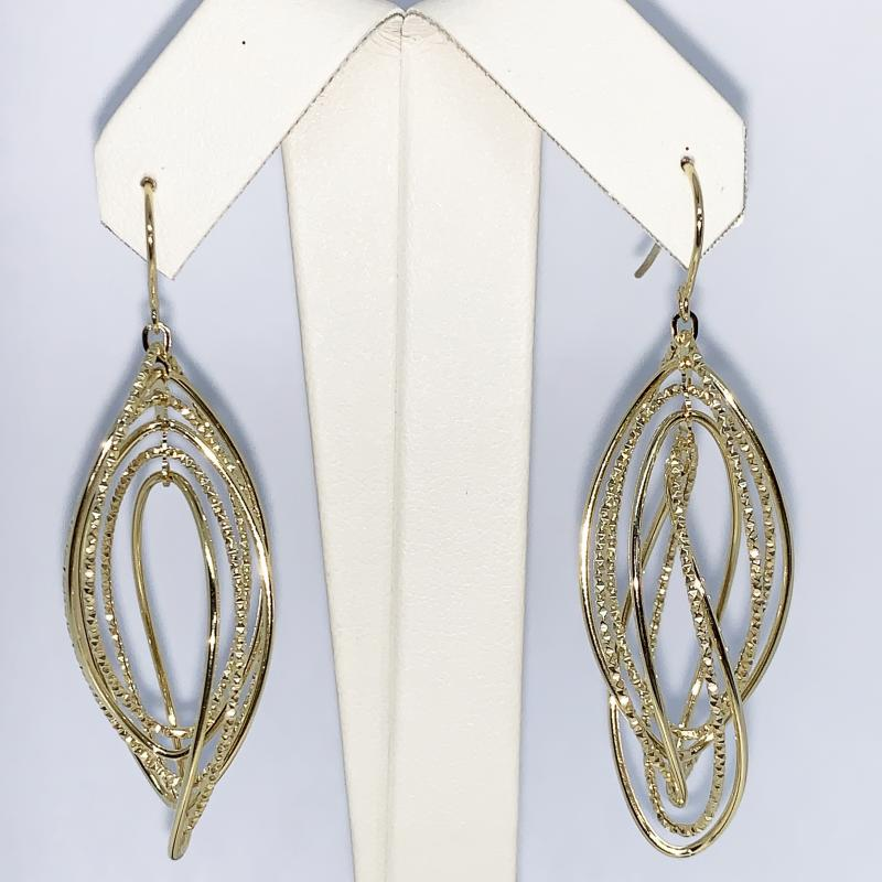 14 K Yellow Gold Hanging Twist Earrings