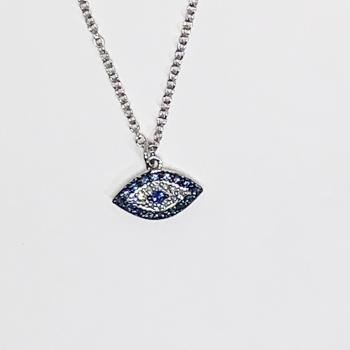 Diamond & Sapphire Evil eye pendant  on white gold chain