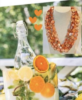 Mother of Pearl Necklace Orange