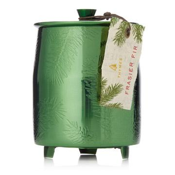 Thymes Frasier Fir Heritage Medium Green Metal Tin Candle