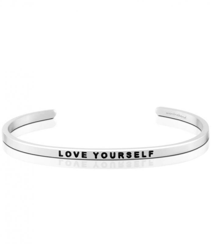 MantraBand Cuff Bracelet - Love Yourself (Silver)