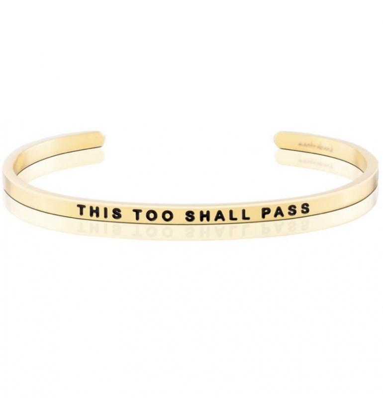 MantraBand Cuff Bracelet - This Too Shall Pass (Gold)