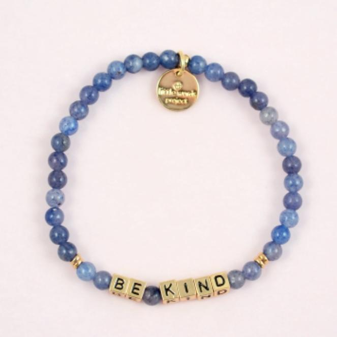 Little Words Project Bracelet - Be Kind (Gold/Aquamarine)