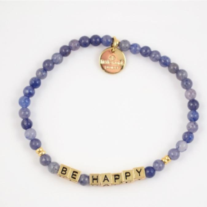 Little Words Project Bracelet - Be Happy (Gold/Aquamarine)
