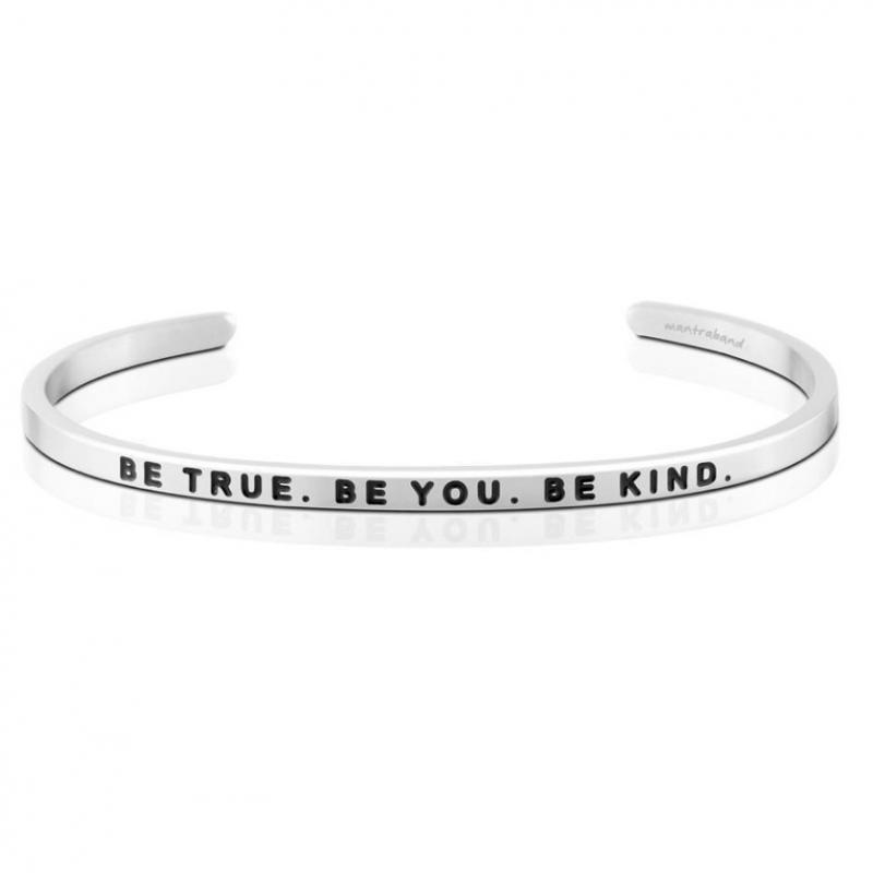 MantraBand Cuff Bracelet - Be True. Be You. Be Kind. (Silver)