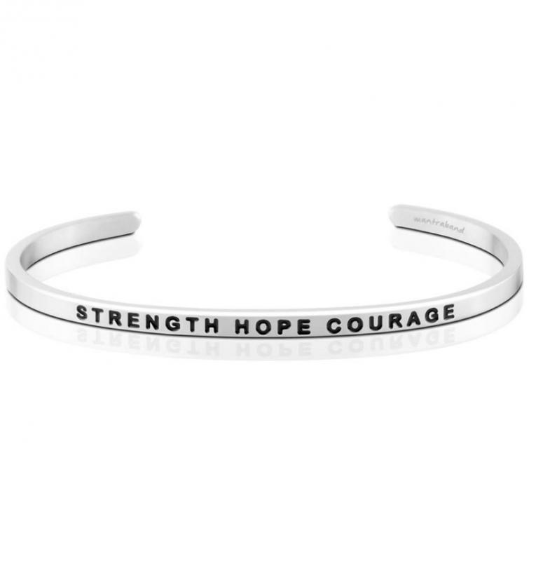 MantraBand Cuff Bracelet - Strength Hope Courage (Silver)