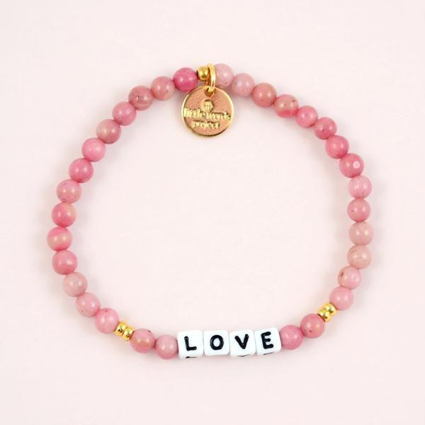 Little Words Project Bracelet - Love (White/Rhodonite)
