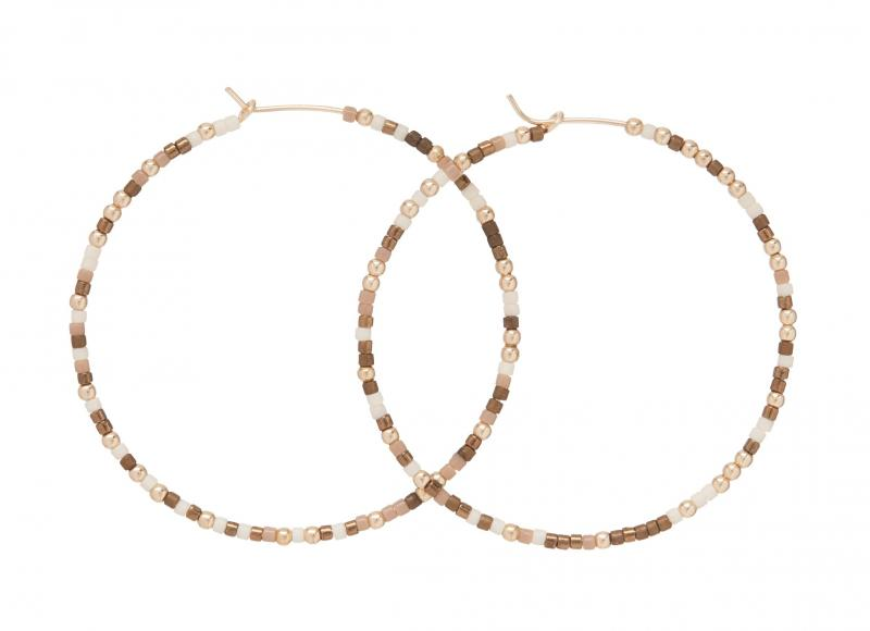 enewton Beaded Hoop Earrings - Hot Cocoa