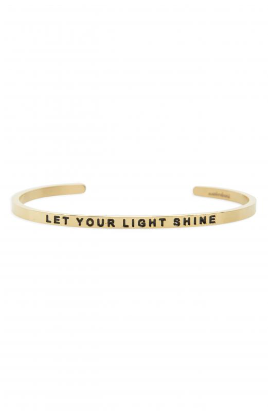 MantraBand Cuff Bracelet - Let Your Light Shine (Gold)