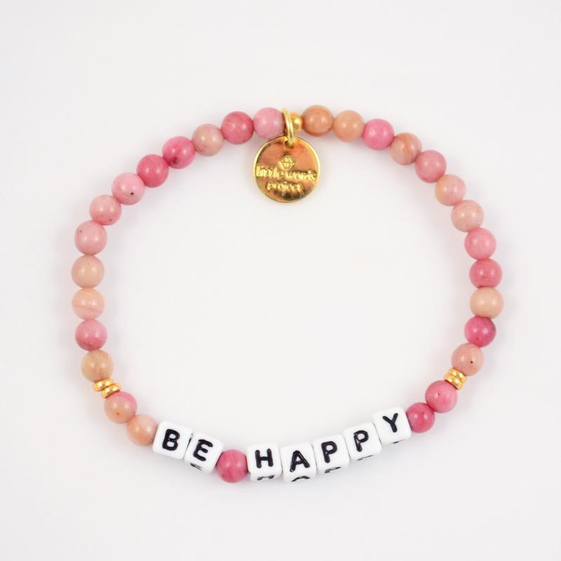Little Words Project Bracelet - Be Happy (White/Rhodonite)