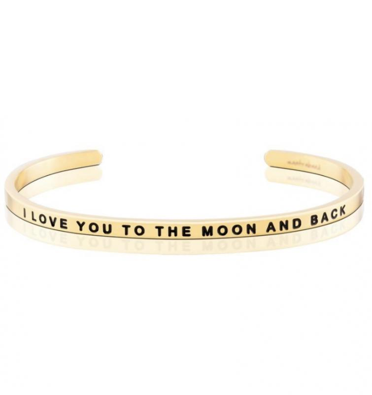 MantraBand Cuff Bracelet - I Love You To The Moon And Back (Gold)