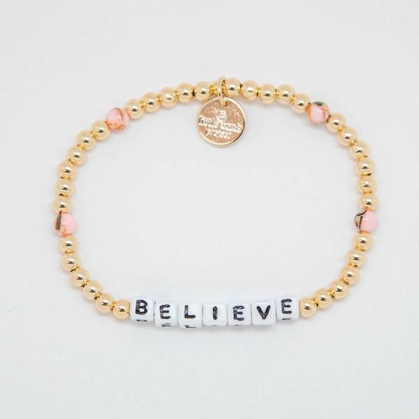 Little Words Project Bracelet - Believe (Gold/White Letters)