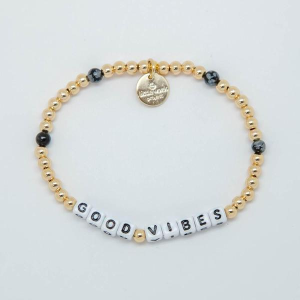 Little Words Project Bracelet - Good Vibes (Gold/White Letters)