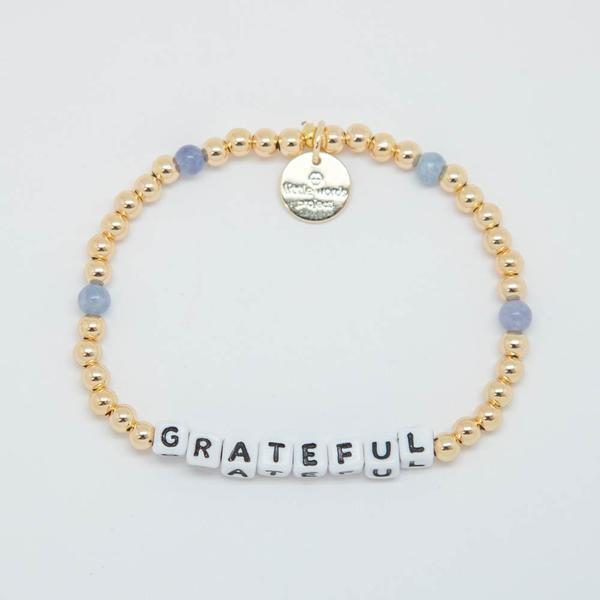 Little Words Project Bracelet - Grateful (Gold Beads/White Letters)