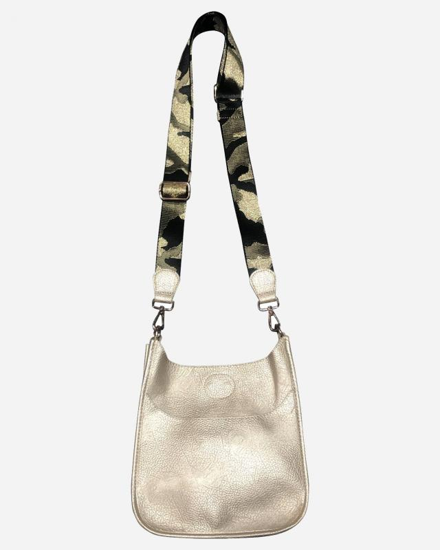 Gold Mini Vegan Messenger with Camo Strap