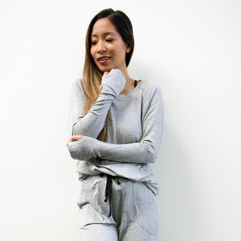 Hello Mello Weekender Raglan Sleeve Top - Grey